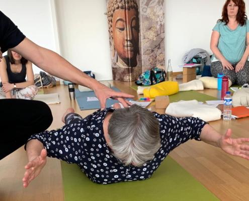 """Ayur Yogatherapie Ausbildung - spiraldynamisch ausgerichtet Rückbeugen - die Kraft aus der Mitte durch das """"Autoelongationsprinzip"""" neutrale Aufrichung von Bcken- und Kopfpol"""